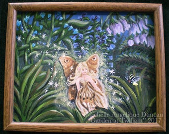 faerie painting framed limited print of original fairy art enchanted wall hanging home decor firefly garden faery garden pagan art