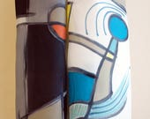 Hand Painted Silk Scarf. Kandinsky style silk scarf. Hand Painted Silk Shawl. 71x18 in. Wedding Gift. Ooak scarf.