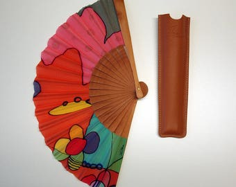 Handpainted Silk hand fan- Wedding hand fan-Abanico- Giveaways-Bridesmaids- Spanish hand fan-Pink-Red-Blue 14 x 7.5 inches (35 cm x 19 cm)