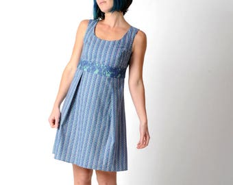 SALE Blue cotton dress, Blue striped dress in vintage fabric and blue lace, Blue sleeveless dress, Blue summer dress, Womens clothing