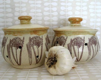 Garlic Keeper - Garlic Pot - Garlic Jar - Ready to Ship - Hand Thrown Stoneware Pottery