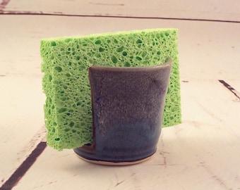 Ceramic Sponge Holder - Stoneware Sponge Dryer - Cup Holder - Kitchen Necessity - Ready to Ship - Marbled Brown / Blue / Hare Fur Rim  h491