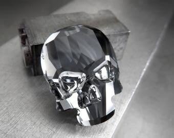 Small Skull Pin with Swarovski Crystal - Midnight Black - Skull Tie Tack, Skull Pin, Skull Brooch, Unisex Skull Jewelry, Halloween Jewelry