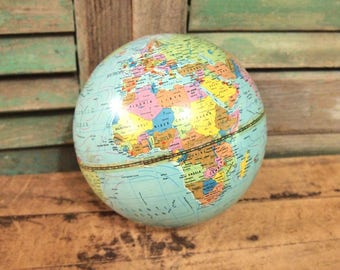 Small 6 inch Vintage Metal Scan Globe Havdrup Danmark 1972 Without Base