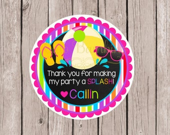 Pool Birthday Party Favor Tags or Stickers / Chalkboard and Rainbow Stripes with Beach Ball for Swimming Party / Set of 12