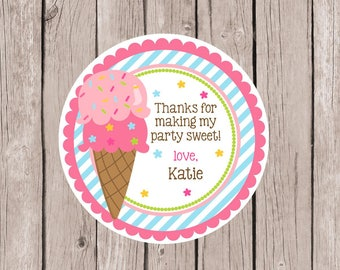 PRINTABLE Ice Cream Birthday Party Favor Tags / Print Your Own Tags or Stickers for Ice Cream Party / You Print