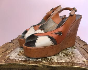 1970s platforms leather shoes vintage wedges size 7 1/2 brown and white shoes open toe shoes 1970s wedges