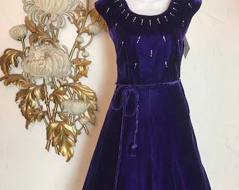 1950s dress velvet dress purple dress with rhinestones size small vintage dress 26 waist full skirt dress cocktail dress