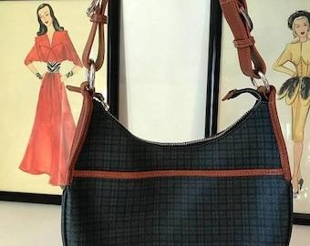 1990s purse Ralph Lauren purse plaid purse designer bag green purse blue purse leather purse vintage purse shoulder bag tartan purse