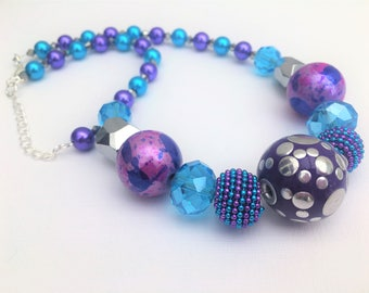 Purple and Turquoise Necklace, Chunky Bead Necklace, Purple Beaded Necklace, Gift For Her, Single Strand Necklace, Mermaid Theme Necklace