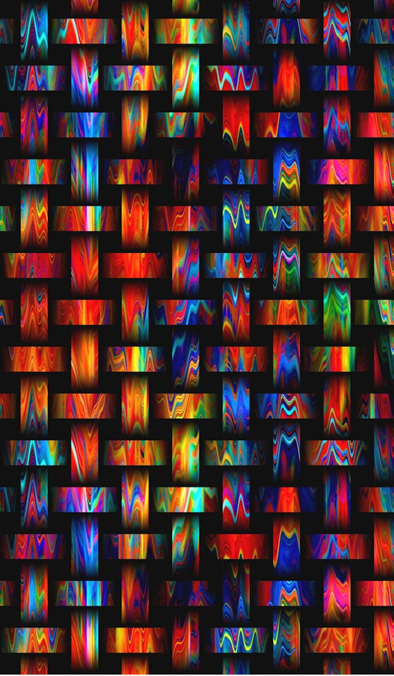 Vibrant Weave Look Artisan Made Kona Cotton Quilting Textile Art Fabric Panel Fiber Art
