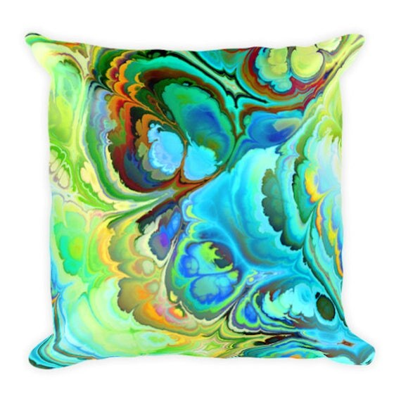 Contemporary Pastels Throw Decorative Designer Artist Created Pillow 18 inch Square with Zipper and Insert
