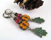 Bohemian Hamsa Earrings, Boho Earrings, Gypsy Soul, Floral Earrings, Picasso Flower Earrings, Yoga Earrings, Gypsy Jewelry, Moonlilydesigns