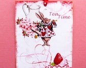 Custom Order for Mammie 1902  2 Tea Time with Alice Tags No Holes or Ribbon