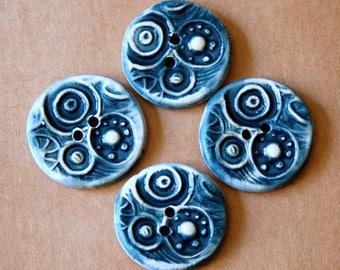 4 Handmade Ceramic Buttons - Circle Steampunk buttons in Denim Blue - Stoneware Buttons - Handmade Buttons  - Artisan Focal Buttons