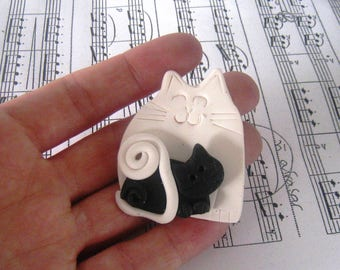 Reserved listing - Fimo Polymer Clay Black and White Mother Cat with Baby Brooch Pin or Magnet