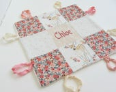 Baby Lovey Girl Blanket with Custom Hand Embroidery Name Or Initial ~ Choice of Backing Fabric ~ Floral Fawn ~Rifle Paper~ Blush Peach White