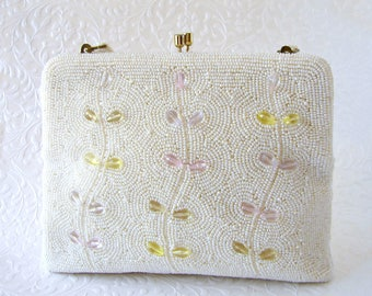 Bag By Debbie The SWEETEST Purse White Glass Beaded Acrylic Pastel Crystal Wedding Clutch Vintage Spring Bride Flower Vine Pink Green Yellow