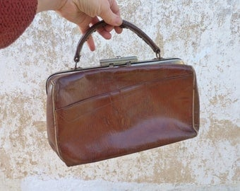 Vintage Antique 1900s doctor bag brown leather French small size