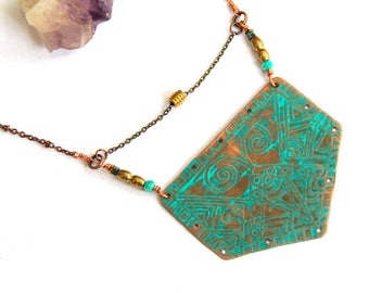 Etched Copper Tribal Shield Necklace (P2046)