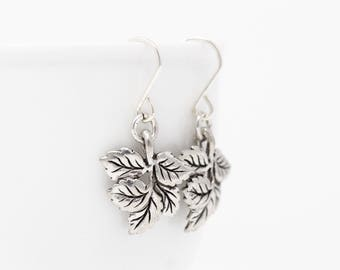 Leaf Earrings - Woodland Earrings - Silver Leaves - Leaf Dangle Earrings - Nature Earrings - Rustic Jewelry - Gift For Her