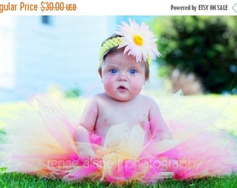 "SUMMER SALE 20% OFF Girls Tutu Set - Hot Pink Yellow Tutu - Rani - Custom Sewn 11"" Pixie Tutu and Headband - sizes newborn up to 5T - 1st bi"