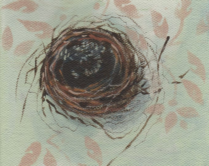 Free U.S. shipping nest with leaves original painting