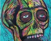 Skull  Color Woodcut