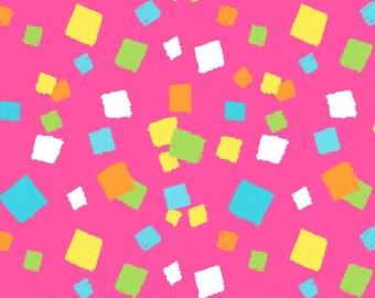 Hop to It by Henry Glass Fabrics, Bunny Confetti Dot on pink , yard