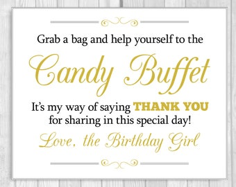 Grab a Bag and Help Yourself to the Candy Buffet 5x7, 8x10 Black and Gold Birthday Girl Sign - Instant Download - Sweet 16, Tween to Teen