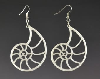 Large Fibonacci Spiral Nautilus Earrings - White - Upcycled Corian Handmade Recycled Jewelry by Mark Noll - Gift for Her - Spiritual Jewelry