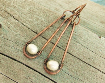 Copper and Pearl earrings - antiqued copper long loop dangle earrings with white freshwater pearls - drop earrings