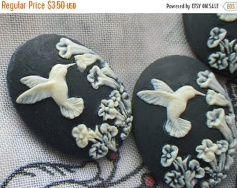 SALE 20% Off Dainty Black Hummingbird 25x18mm Cameos in Resin 4 Pcs