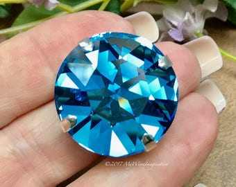 27mm Genuine Swarovski Crystal Aquamarine, 1201 Round Crystal, Available With or Without Setting, Beading & Jewelry Making, Crystal Setting