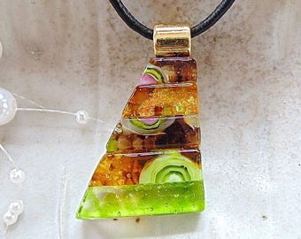 Lime Green Necklace, Brown, Dichroic Glass Pendant, Fused Glass Jewelry, One of a Kind, Murrini, Necklace Included, A4