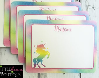 Unicorn Notecards, Unicorn Stationery, Flat notecards, Rainbow Unicorn, Thank you Notes, childrens stationary