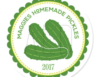 Personalized Labels -- Pickles -- Personalized Preserves Labels, Canning Labels, Personalized Labels -- Choice of Size