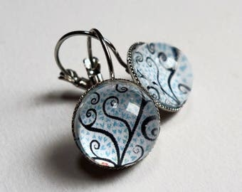 Blue hearts BO312A tree earrings
