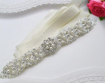 Sale, wedding sash pearl bridal belt rhinestone sash silver belt crystal wedding dress belt jeweled ribbon sash belt