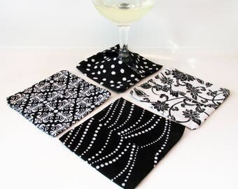 Wine Glass Coasters Black and White