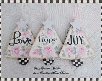 Love, Hope, Joy, 3pc Wood Trees Stately Checked Ornaments, Christmas Tree , Message Set, Gift Tags, Wreath Accents, Holiday Decor, ECS