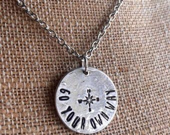 Fine Pewter Circle Necklace - Personalized Necklace - Circle Necklace -Hand Stamped Necklace-Personalized  Gift- Statement Necklace