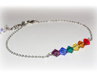 Rainbow Beaded Swarovski Crystal Boho Beach Anklet Summer Ankle Bracelet For Women Austrian Crystal LGBT Pride Equality Multi Colored