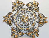 Large 28 inch Vintage Tatted Butterfly Doily -  Browns with Harvest Yellow and Golds - Vintage Home Decor