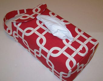 NEW!  Automobile Hanging Tissue Box Cover / Tissue Box Cozy / Automobile Accessory For Your Car / Red & Cream Chain Link