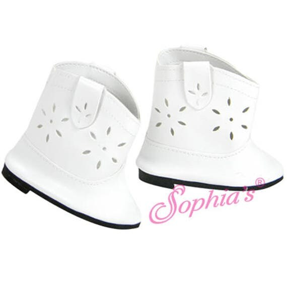 White Cowgirl Boots - 18 Inch Doll Shoes