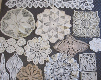 Lot 14 Mixed Crochet Lace Cotton Doilies Vintage Scarf Circle Fruit White Ecru