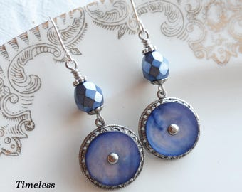 Antique Mother of Pearl Button Earrings, Blue Skies, Czech Glass Beads