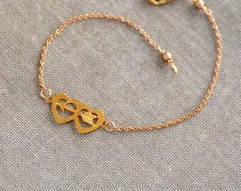 Dainty double heart and arrow bracelet,sweetheart bracelet,simple bracelet,minimalist bracelet,heart bracelet,valentines bracelet,love,gift