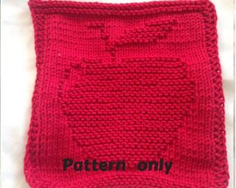 PATTERN - dishcloth / washcloth knitting pattern - Apple